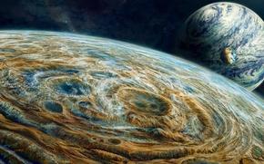 Обои космос, планеты, звёзды, Три, Аrt, бесконечный