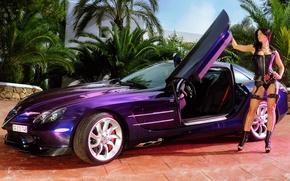 Обои автомобиль, veronica zemanova, карсет, красотка