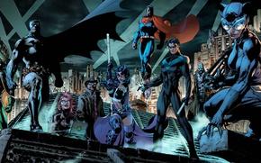 Картинка fantasy, Batman, comics, Robin, Superman, superhero, superheroes, costume, DC Comics, Catwoman, Batman hush