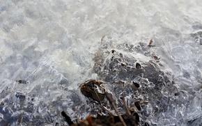 Картинка лед, зима, вода, речка, снежинка