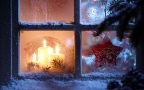 Картинка звезды, снег, снежинки, окна, новый год, свечи, окно, star, new year, snow, window, Merry Christmas, …