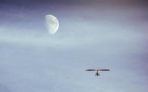 Обои луна, трицикл, полет, небо, дельтапланеризм, на луну