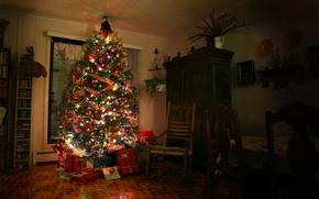 Картинка комната, елка, новый год, подарки