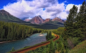 Картинка дорога, лес, небо, облака, горы, река, рельсы