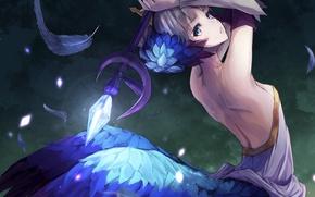 Обои перья, магия, арт, odin sphere, konkito, gwendolyn, аниме, девушка, посох