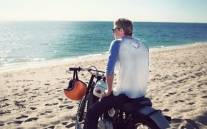 Картинка summer, beach, yamaha, ocean, coast, man