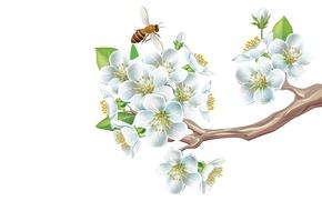 Картинка настроение, минимализм, весна, арт, пчёлка, яблоня, цветение