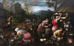 Картинка животные, горы, люди, картина, Апрель, быт, жанровая, Франческо Бассано
