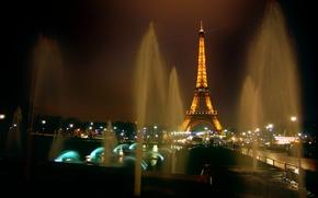 Обои огни, франция, башня, ночь, париж, эйфелева, фонтаны