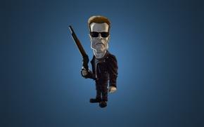 Обои минимализм, темный фон, оружие, Arnold Schwarzenegger, Арнольд Шварценеггер, The Terminator, очки, Терминатор, синий