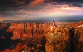 Картинка TJ Drysdale, вид, девушка, каньон, высота, платье