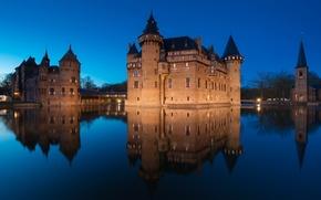 Обои Нидерланды, вода, отражение, ночь, освещение, De Haar, замок