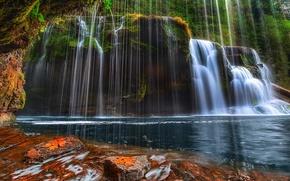 Картинка водопад, камни, вода, мох, поток