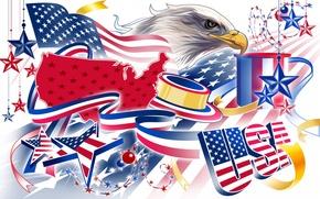 Картинка белый, цвета, синий, желтый, красный, орел, краски, colors, флаг, red, white, америка, сша, yellow, blue, ...