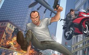 Картинка art, майкл, Patrick Brown, Grand Theft Auto V, тревор