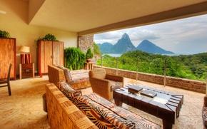 Картинка interier, Caribbean, Saint Lucia, Jade Mountain hotel
