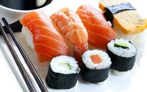 Картинка лосось, палочки, рис, креветки, морепродукты, суши, Japan, японская кухня, ломтики, Япония, japan food, суси, красная ...
