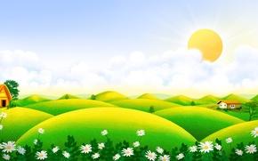 Картинка лето, солнце, цветы, ромашки, луг, арт, домик