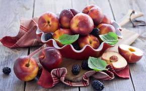 Картинка ягоды, ежевика, нектарины