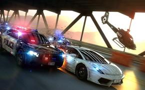 Картинка Lamborghini, Вертолет, Искры, Погоня, Gallardo, Police, Суперкар, Helicopter, Pursuit, Supercar, Полицейская, LP560-4, Sparks