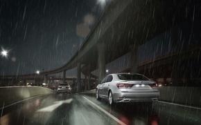Картинка Ночь, Lexus, Машина, Дождь, Лексус, Седан, Два, Пасмурно, LS-EU
