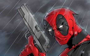 Картинка Пистолет, Меч, Оружие, Deadpool, Marvel, Дэдпул, Wade Wilson