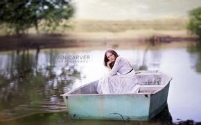 Обои девочка, озеро, лодка