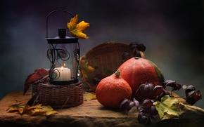 Картинка осень, листья, свеча, тыква