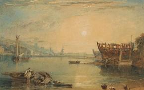Картинка море, солнце, пейзаж, люди, лодка, картина, акварель, Девон, Уильям Тёрнер, Тинмут