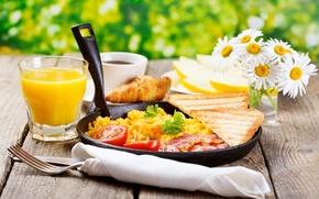 Картинка еда, сок, помидоры. хлеб, сланина
