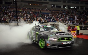 Картинка Car, wallpapers, drift, ford, mustang, gt500, monster energy, автомобиль, обоя