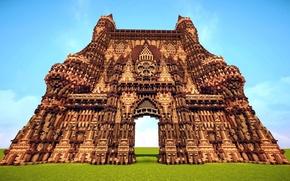 Картинка поле, небо, трава, блоки, собор, архитектура, строение, Minecraft