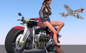 Картинка девушка, самолет, рендеринг, визуализация, арт, мотоцикл, небе, 3d.