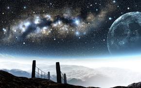 Картинка горы, арт, луна, y-k, ночь, млечный путь, небо, звезды, высота