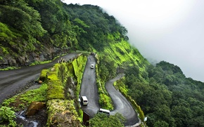 Картинка дорога, туман, Индия, серпантин, Махараштра, горная станция, Матеран