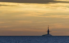 Картинка море, ночь, подводная лодка