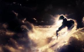 Обои лучи, фон, парень, ангел, обои, цвета, полет, фантазия, солнце, небо, фантастика, облака
