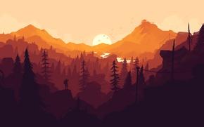 Картинка лес, солнце, закат, оранжевый, игра, человек, цвет, минимализм, Firewatch
