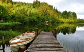 Картинка лес, небо, деревья, озеро, лодка, мостик