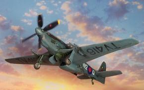 Картинка небо, самолёт, британский, North American, WW2, Mustang FR.6, фоторазведчик