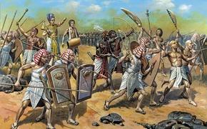 Картинка песок, Египет, копье, щит, дубинка, пехота