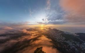 Картинка город, восход, Солнце, Рио-де-Жанейро, Rio de Janeiro