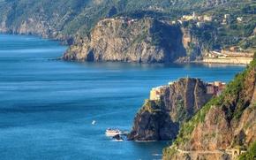 Обои Италия, горы, дома, море, Лигурийское побережье, Манарола, скалы, Чинкве-Терре