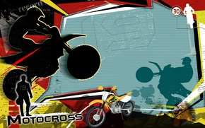 Картинка абстракция, коллаж, обои, вектор, силуэт, мотоцикл, мотокросс, motocross