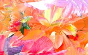Обои цветы, рендеринг, лепестки, природа, сад, листья