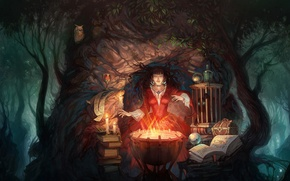Картинка книги, Сова, Лес, ведьма, сундук, колдовство, кубок, котел, всечи