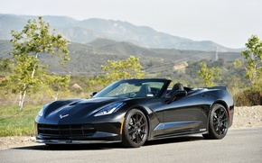 Картинка авто, черный, Corvette, Chevrolet, Тюнинг, Stingray, HPE700