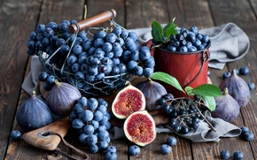 Картинка инжир, черника, ягоды, натюрморт, Anna Verdina, грозди, виноград, осень