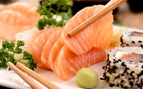 Картинка рыба, палочки, sushi, суши, fish, японская кухня, parsley, sticks, Japanese cuisine, зелень петрушки