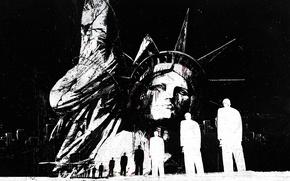 Картинка люди, здания, abstract, черно белое, USA, Америка, гранж, statue of liberty, grunge, Статуя свободы, Alex ...